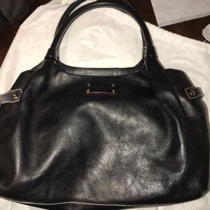 Late Spade large black leather tote bag